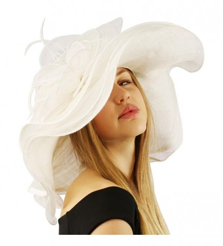 "Summer Kentucky Derby Wide 6""+ Brim Layers Floppy Feathers Net Floral Hat - White - CU11JHWI7BD"