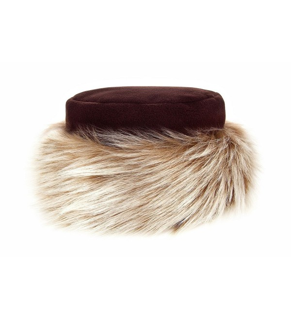 Futrzane Faux Fur Hat with Fleece Winter Ladies Women - Brown / Brown With White - CK1201KAVJJ