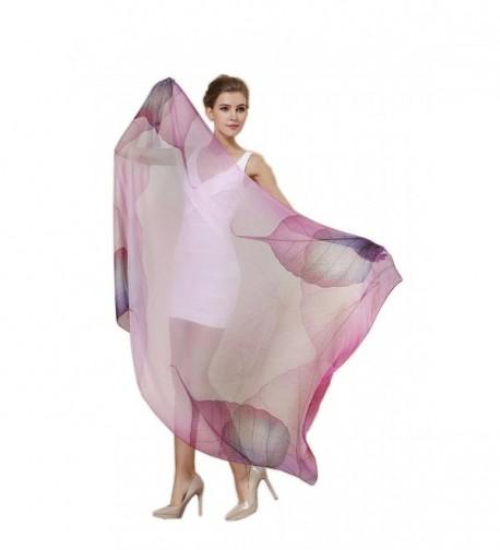 Women Fashion Silk Scarf Oblong Floral Oversize Soft Shawl Beach Wrap - Purple - CP1864N4GOO