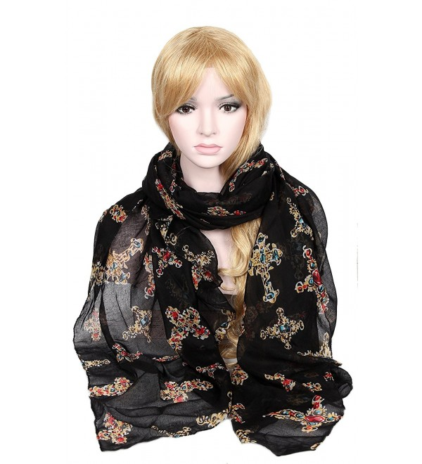 Calonice Black Scarf with artistic Crucifix patterns Stylish shawl 37300 - Black - C51205NTSF1