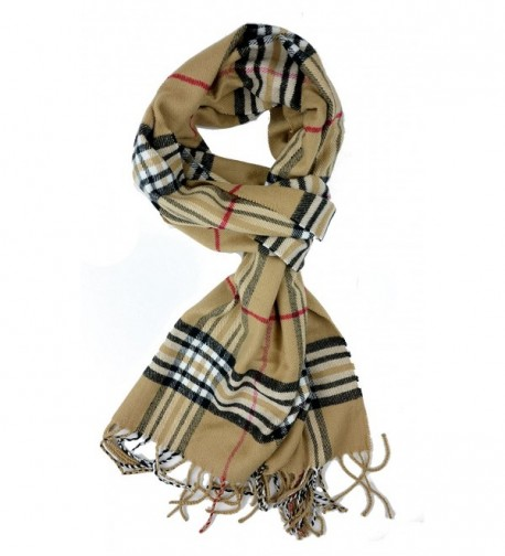 Plum Feathers Super Soft Luxurious Cashmere Feel Winter Scarf - Classic Camel Plaid - CA122Q5D8V1