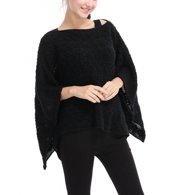Ferand Casual Batwing Sleeve Floral Crochet Knit Poncho Cape Pullover For Women - Black - C81870ZKNTG