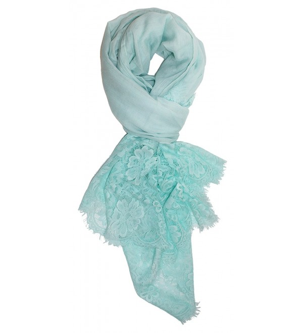 Ted and Jack - Lace Edged Linen Feel Scarf in Breezy Colors - Seafoam - C4183KOIIWE