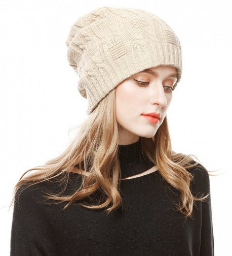 Unisex Slouchy Cable Knit Beanie Cap Oversized Thick Winter Beanie Hat - Beige - C512NYQT0LC
