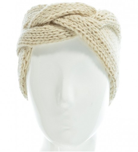 Hand By Hand Aprileo Women's Solid Cable Knitted Headband Headwrap Comfortable - Beige. - CA12GUFUTZL