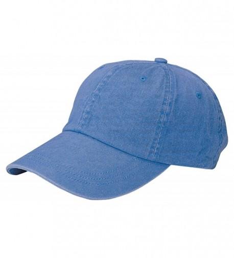 Mega Cap Unstructured Pigment Dyed Garment Washed Cap - Royal Blue - CI12DE8Y7XH