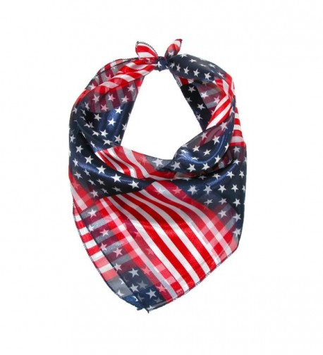 CTM Women's 21 Inch Stars and Stripes American Flag Square Scarf - American Flag - C21236916DD