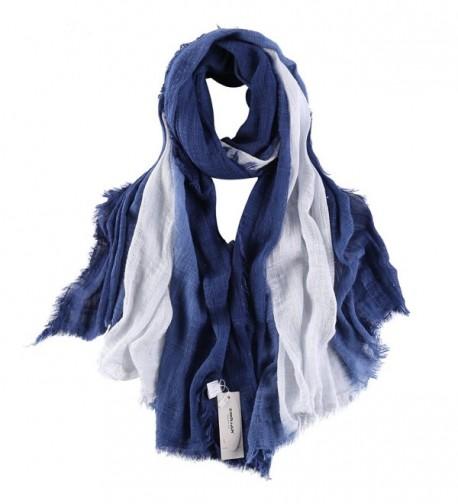 "ZORJAR Cotton Fashion Scarf for Women Men Gradient Long Shawl 78""x39"" - Navy - CL12ETYHZR5"