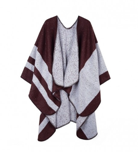 PULI Women's Color Block Blanket Scarf Winter Pashmina Reversible Cardigans Wrap Poncho Cape - Brown - C81889HR65I