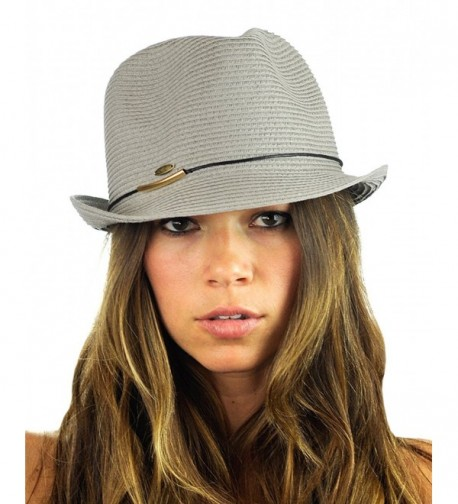 NYFASHION101 Spring Summer Gold-Tone Bar Slim Band Stingy Trilby Fedora Hat - Gray - C312EBO49XV