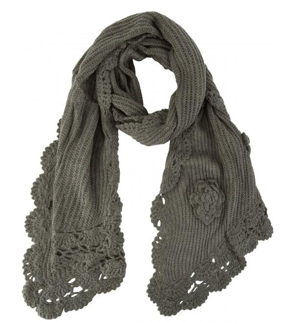 Floral Crochete Scarf - Charcoal - CG11I8K6A63