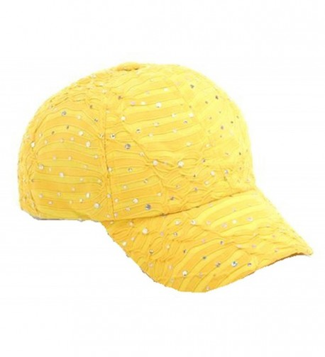 Glitzy Game Crystal Sequin Trim Women's Adjustable Glitter Baseball Cap YELLOW - CE11U7YJ859