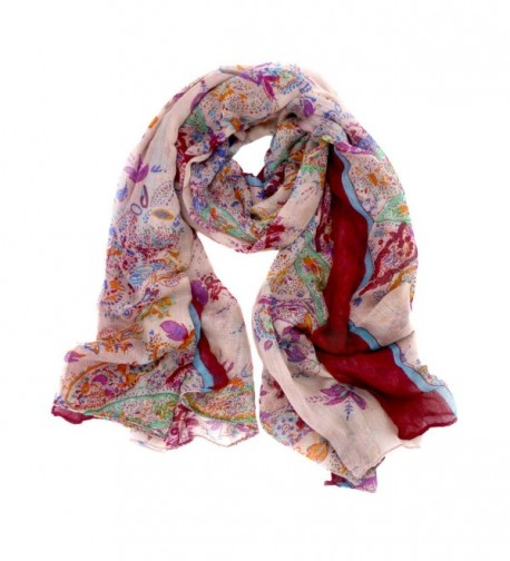 Meelyn Fashion Floral Printing Lightweight Women Infinity Scarves - Red - CZ184YH9GM0