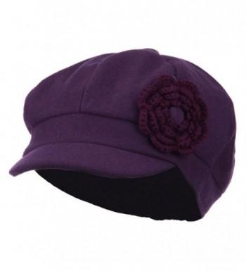 Melton Newsboy Cap with Knit Flower - Purple - CM11P5HN7BJ