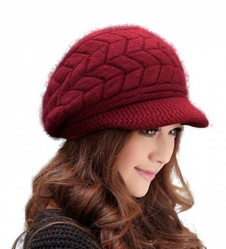 HINDAWI Women Winter Warm Knit Hat Wool Snow Ski Caps With Visor - Wine - CO12NYEP2OF