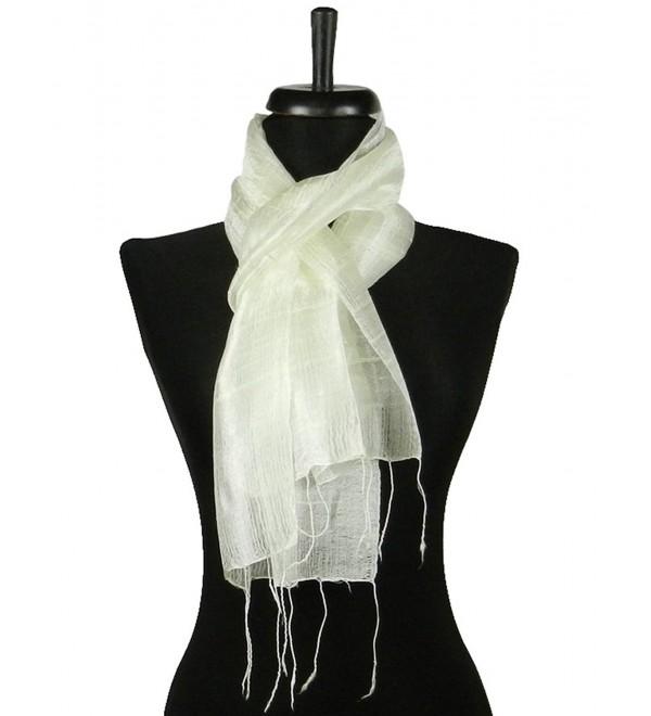 Thai Natural White Hand Craft Pure Raw Silk Fabric Scarf Small Shawl Thailand - CN11EG7Q06D