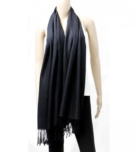 AN Womens Pashmina Shawl Scarf with Tassels Silk Soft Fashion Accessory - Black - CV1206OGXKH