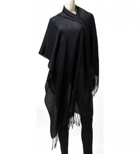 Womens Black Solid Pashmina Tassels in Fashion Scarves