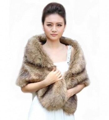 Venus Wedding Fur Wraps and Shawls for Bride - Bridal Fur Stoles for Women and Girls (14-20- Brown) - CZ127XCG3YL