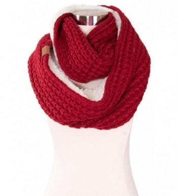 ScarvesMe C.C Chunky Knit Sherpa Fur Infinity Scarf - Burgundy - C9126KVUCVL