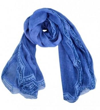 Monique Women Retro Pleated Lace Cotton Linen Scarf Autumn Winter Warm Scarves Wraps Shawls - Blue - CP186GMMWG4