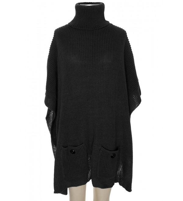 Capelli New York Rib knit soft poncho with cowl neck - Black - CC124SD3P2B