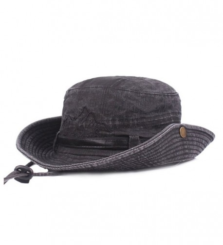 King Star Men Summer Cotton Cowboy Sun Hat Wide Brim Bucket Fishing Hats - Black 1 - CU184XCUYLO