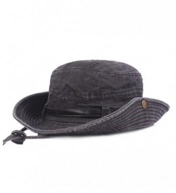 King Star Men Summer Cotton Cowboy Sun Hat Wide Brim Bucket Fishing Hats - Black 1 - CU184XCUYLO