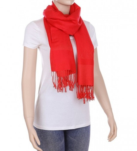 RufNTop Reversible Pashmina Scarf Paisley Silky Shawl Wrap Elegant Colors Stole for Women - Red - CS182WZ8T2G