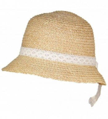 Victoria Natural Raffia Straw Womens Cloche Hat W/Lace Band (One Size) - Cream - CH17YUZW80Q