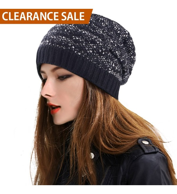 49a5246f2 Cable Slouchy Beanie Women Black Base With Some White Mix Chunky Cable Knit  C112N38EX0C