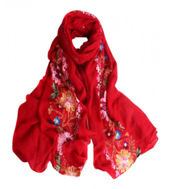 LuluVin Women's Scarf Cotton Embroidered Lightweight Shawl Wrap - Red - CG188R34R8C