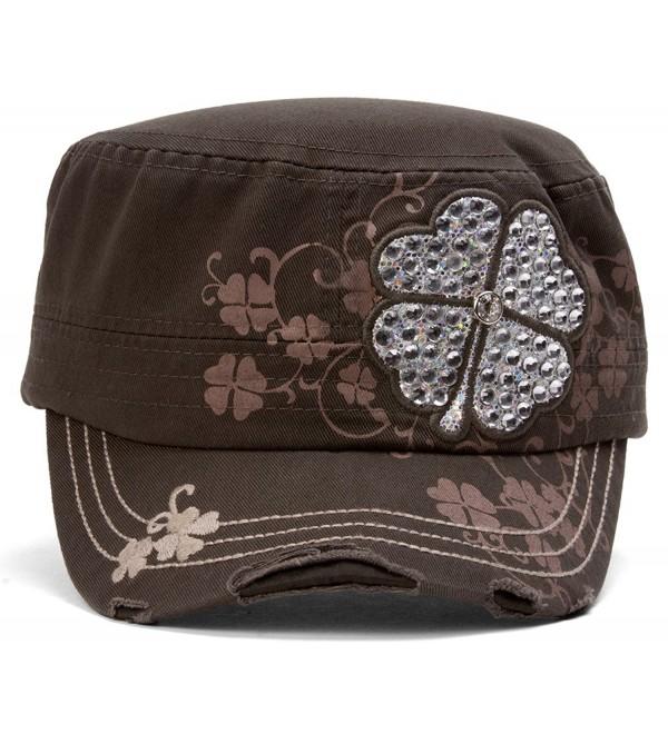 TopHeadwear Four Leaf Clover Distressed Cadet Cap - Olive - CM11O3DURZZ