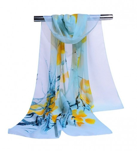 GERINLY Elegant Women Scarves Pretty Flowers Print Sheer Scarf - Lightcyan - CH17XQ5M4XO