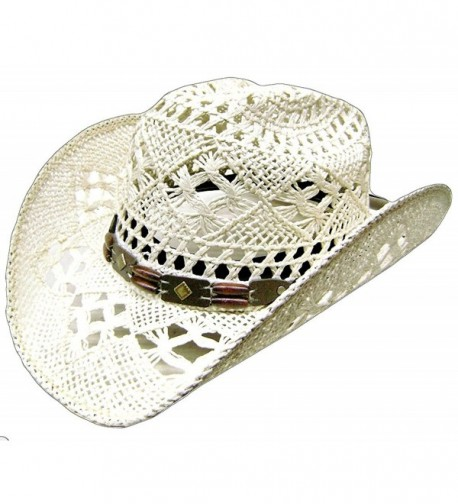 Modestone Women's Cool Summery Straw Hat White - CW127O0MKQ7