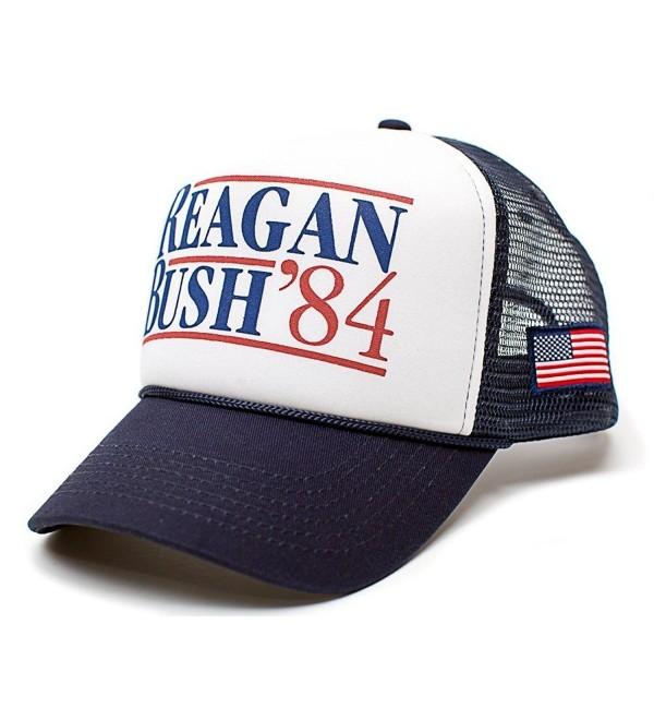 Reagan Bush 84 Hat Back To Back World War Champs USA Flag Unisex Adult Cap - Navy/White - C512GTY4AL1