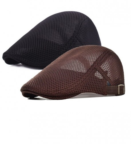 2 Pack Men Breathable mesh Summer hat Newsboy Beret Ivy Cap Cabbie Flat Cap - Brown/Black - CC1832NQRQ2