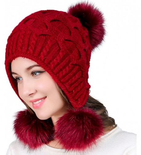YI HENG MEI Women's Thick Cable Knit Three Faux Fuzzy Fur Poms Skull Cap Cuff Beanie Hats - Burgundy - CJ188HD4DNU