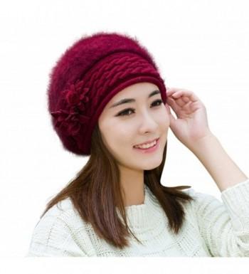 HINDAWI Beret Womens Beanie Knitting Hat Crochet Winter Hat Snow Warm Slouchy Beanie Skull Cap - Wine Red - CN12L2T7539