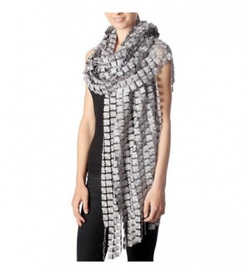 Outcrews Women's Hand Made Delicate Glitter Flower Dressy Evening Party Wraps & Shawls - Grey/Silver - CU1884G3NU8