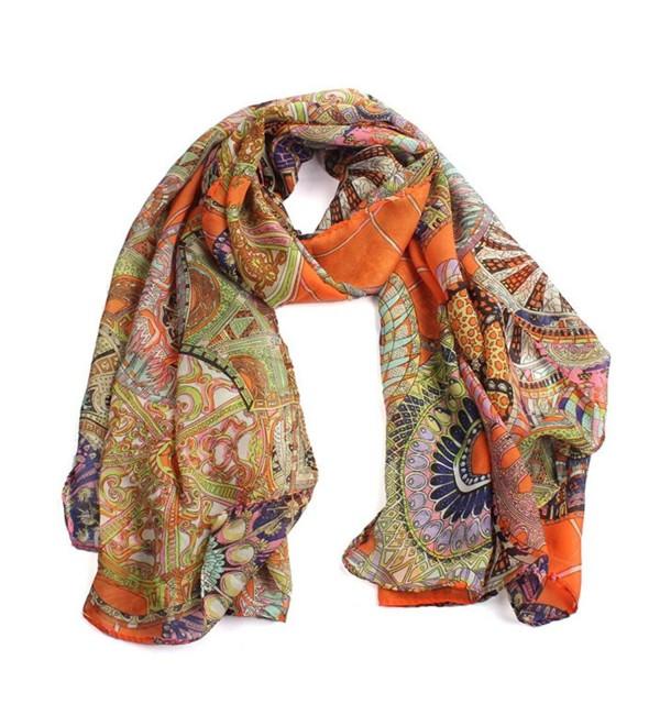 BESSKY Women Fashion Women Girl Chiffon Printed Silk Long Soft Scarf - Orange - C612MZE9NTT