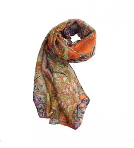 BESSKY Fashion Chiffon Printed Orange in Wraps & Pashminas