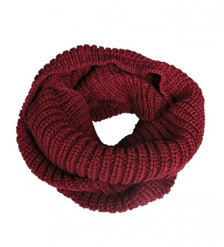 Vilania Women's Knitted Winter Fashion Scarf Circle Loop Scarves Thick Warm - Red - CB12NGD3Z3Z