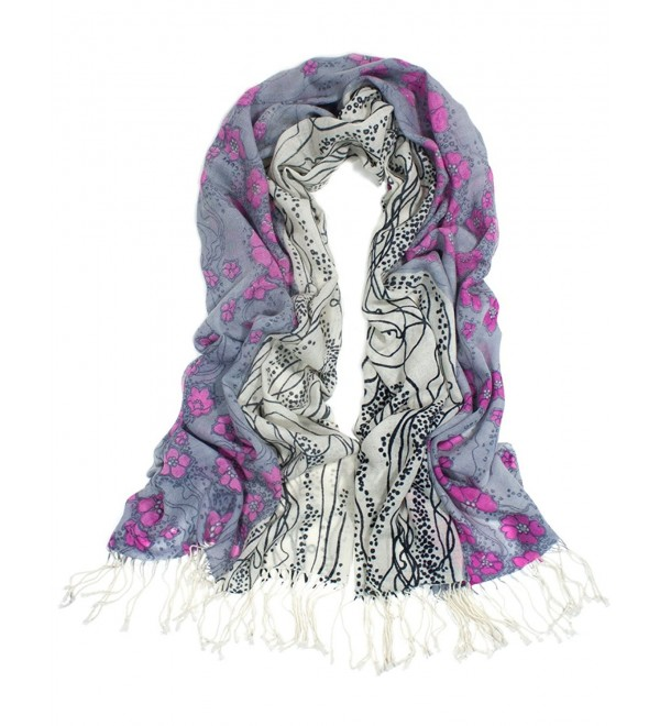 Dahlia Women's 100% Merino Wool Pashmina Scarf - Ink Painting Flower Style - Pink Flower Flowing River - CL113ZJYZVP