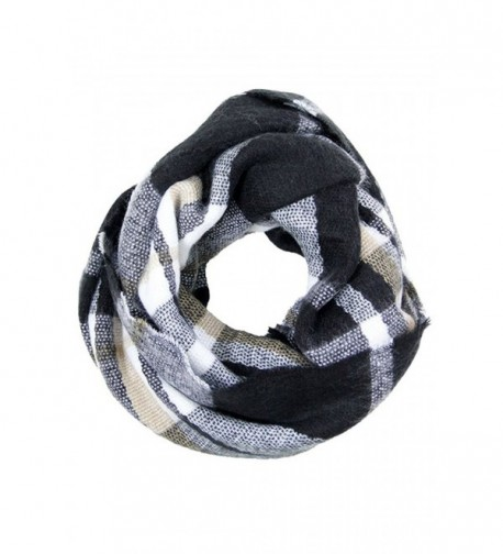 NioBe Soft Classic Plaid and Various Pattern Infinity Scarf - Black Plaid Multicolor - CO187K67WAN