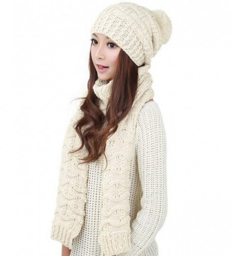 Memorose Womens 2-piece Cable Knitted Beanie Cap Skully Hat and Long Scarf Set - White - CI120TTILYZ