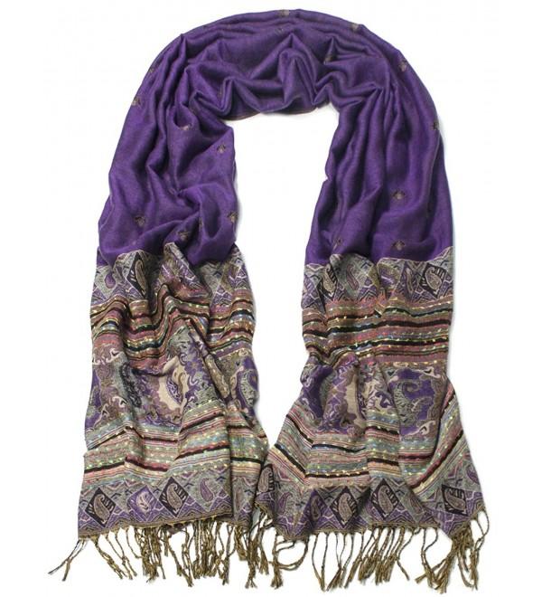 Dahlia Women's Rayon Scarf Shawl - Bohemian Tulip Print - Purple - C6128RMWGID