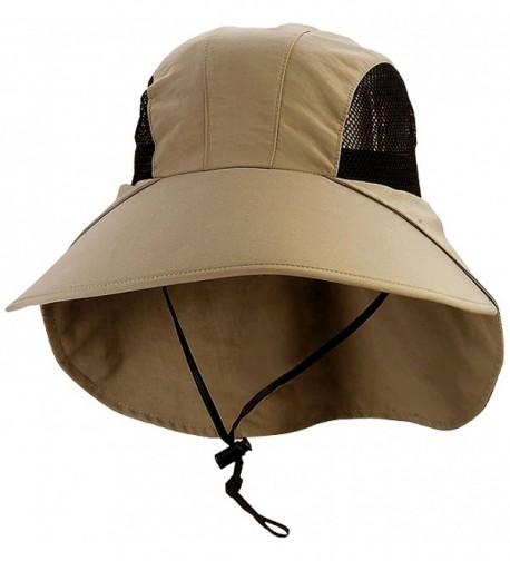 Juniper Large Bill Flap Cap with Mesh Sides - Khaki - CQ11LV4H6KX