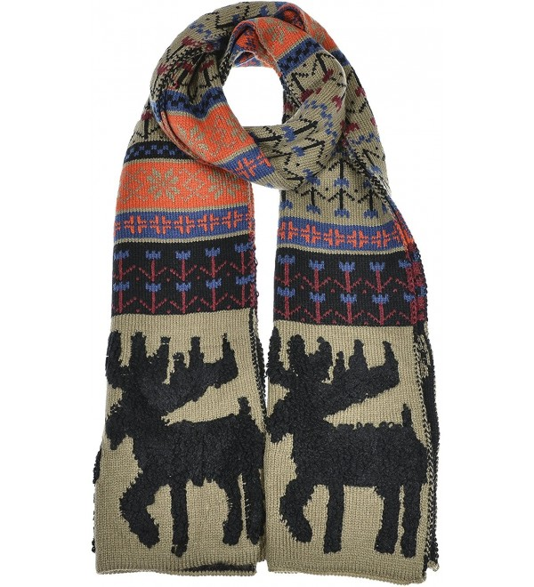 Hand By Hand Aprileo Women's Nordic Moose Knitted Scarf Winter Warmth Long - Taupe Multi. - C112GUFWSWX