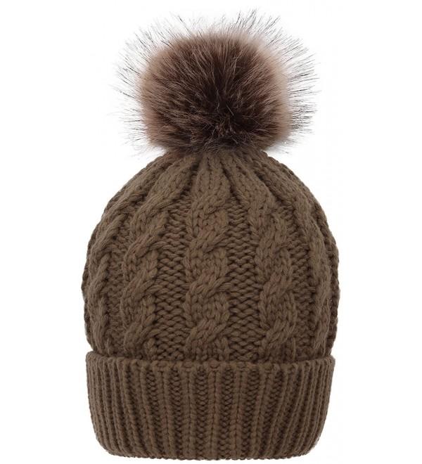 HelloAllyn Women's Cable Knit Faux Fur Pom Beanie - Olive Khaki - C91873H8QUI